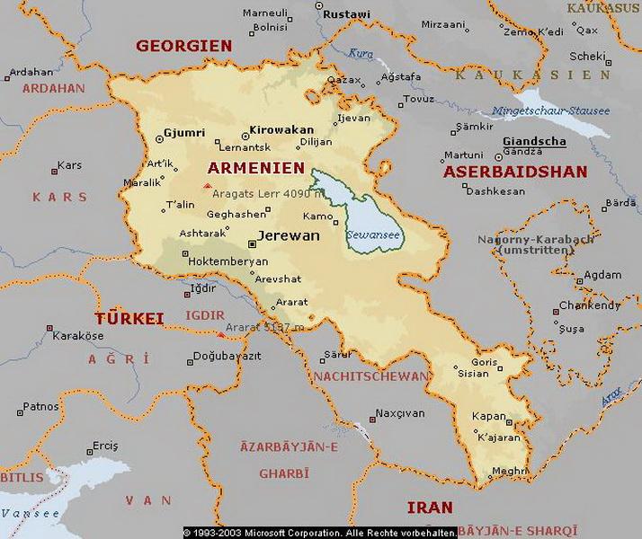 Armenien Karte.Karte Von Armenien